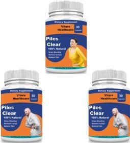 Vitara Healthcare Piles Clear Herbal Capsules For Piles Treatment (30 Capsules Each) Pack Of 3