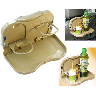 Universal Beige Car Backseat Food Tray with Bottle Cup Holder
