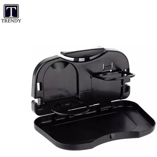 Car Backseat Food Travel Dining Tray Cup and Bottle Holder in Black Color