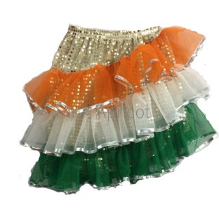 PINK APRICOT Tricolor Tiranga Fancy skirt dress Costume /school shows /events/drama shows