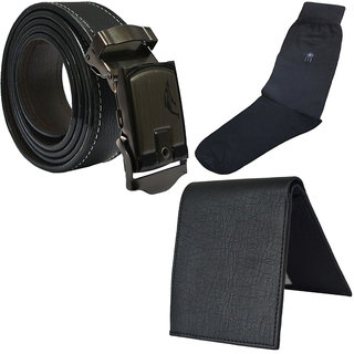 Sunshopping Men's Black Leatherite Auto Lock Buckle Belt  With Black Socks And Black Wallet (Pack Of Three) (Synthetic leather/Rexine)