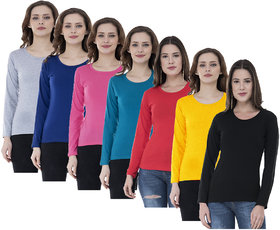 IndiWeaves Women Cotton Full Sleeves Solid T-Shirts (Pack of 7)