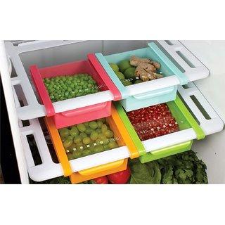 Refrigerator Plastic Storage Fridge Racks Tray Selves Shelf (Set of 4)(Multi-Color)
