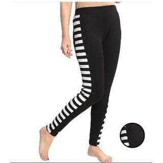 Code Yellow Side Zebra Stripe Black Colour Stretchable Jeggings / Gym Wear /Yoga Wear
