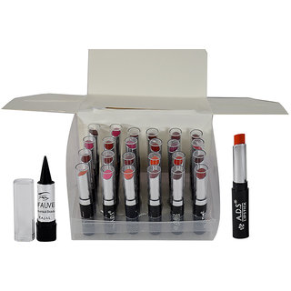 ADS Multi Colour Glossy Lipstick Pack of 24 And Free Kajal-GPTGU-B