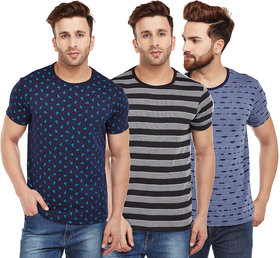 Vimal Multicolor Printed Cotton Tshirts For Men(Pack Of 3)
