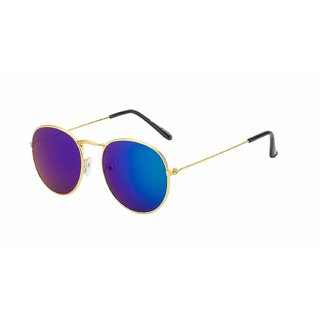 Debonair Blue Mirrored Panto Sunglasses