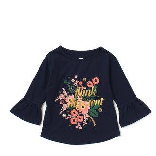 Cub McPaws Girls Graphic Print Cotton T Shirt (Dark Blue, Pack of 1)
