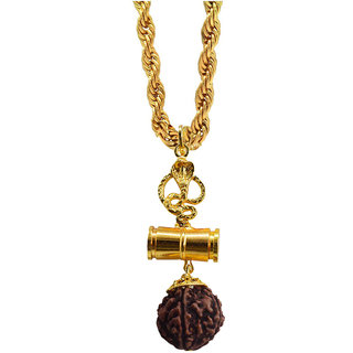 Sullery Snake Damru Pendant With Rope Chain Necklace Pendant