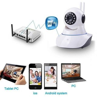 Hy Touch  Wireless HD IP WiFi CCTV Indoor Security Camera (Support Upto 128 GB SD Card) (White Color)
