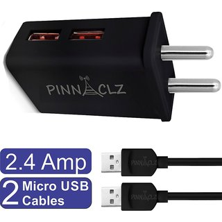 Pinnaclz Combo WC-4 + 2M B of Dual USB 2.4 Amp Wall Charger (Black) + 2 pcs 3 Feet Sync  Charge Micro USB Data Cable