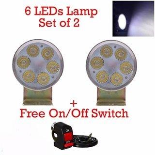 6 Led Headlight Fog Light For Motorcycle Bike Driving Head Lamp With On/Off Switch for hero splendor pro
