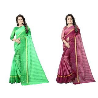 Vkaran Women's Multicolor Cotton Silk Combo of 2 Striped Saree with Blouse