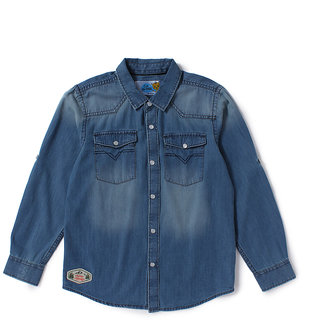 Cub McPaws Boys Solid Casual Blue Denim Shirt