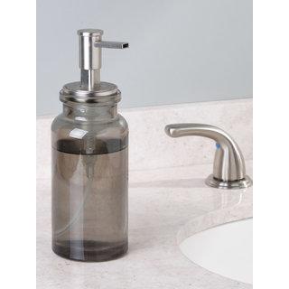 Interdesign Westport Hand Soap Container Glass Foam Soap Dispenser With Pump Head - Grey/Brushed