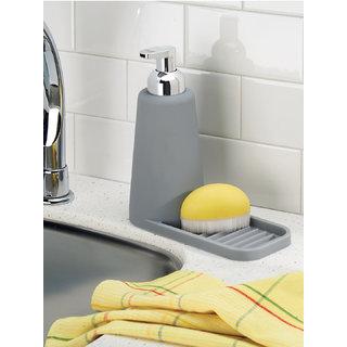 Interdesign Lineo Silicone Soap Dispenser Pump with Sponge Tray Kitchen Sink Organizer - Grey/Chrome