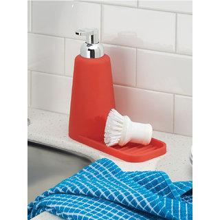 Interdesign Lineo Kitchen Foaming Soap Dispenser Pump and Sponge Tray Organizer - Red/Chrome