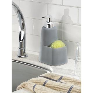 Interdesign Lineo Kitchen Foaming Soap Dispenser Pump and Sponge Caddy Organizer - Grey/Chrome