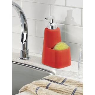 Interdesign Lineo Kitchen Foaming Soap Dispenser Pump and Sponge Caddy Organizer - Red/Chrome