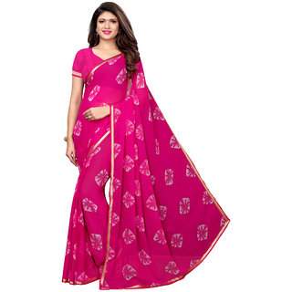 Swaron Pink Chiffon Bandhani Print, Border Saree with unsticthed Blouse