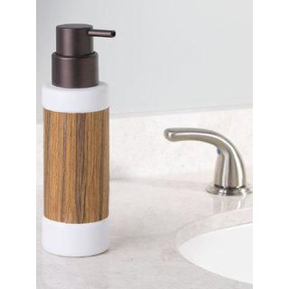 Interdesign RealWood Ceramic Liquid Soap Dispenser Pump for Kitchen or Bathroom Countertops - White/Rosewood