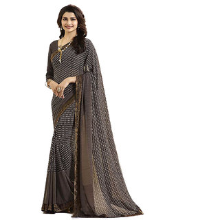 Indian Style Sarees Designer Brown Georgette Printed Saree With Blouse