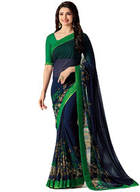 Indian Style Sarees New Arrivals Latest Women's Blue Green Georgette Printed Saree With Blouse Bollywood Latest Designer