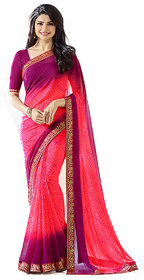 Indian Style Sarees New Arrivals Latest Women'sBandha Pink Georgette Printed Saree With Blouse Bollywood Latest Designer