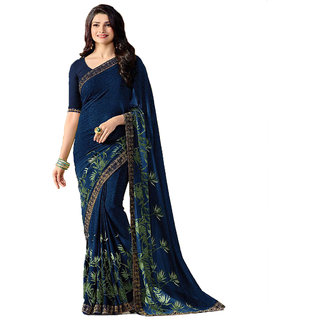 Indian Style Blue Printed Party Wear Georgette Saree With Blouse