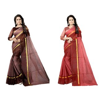 Vkaran Multicolor Cotton Silk Combo Of 2 Striped Saree with Blouse