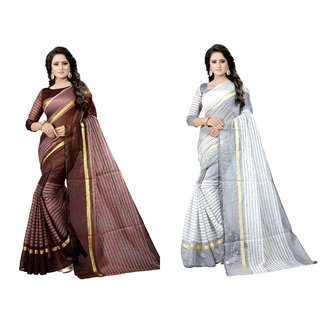 Vkaran Multicolor Cotton Silk Combo Of 2 Striped Saree with Blouse