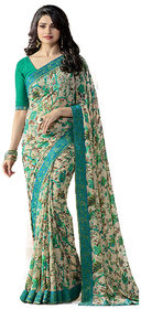 Indian Style Sarees New Arrivals Latest Women'sFlowerGreen Georgette Printed Saree With Blouse Bollywood Latest Designer