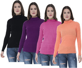 IndiWeaves Women Wollen Warm High Neck Skivvy for Winter (Pack of 4)