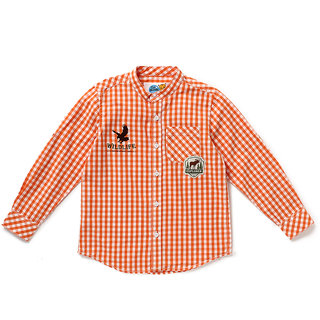 Cub McPaws Boys Checkered Cotton Shirt (Orange Pack of 1)