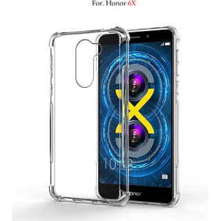Honor 6X - Anti-Knock Design Shock Absorbent Bumper Corners Soft Silicone Transparent Back Cover - Honor 6X