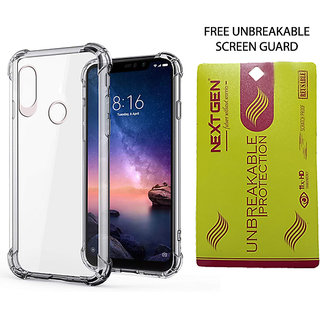 REDMI NOTE 6 PRO TPU Transparent Back Cover With Free Unbreakable Screen Guard