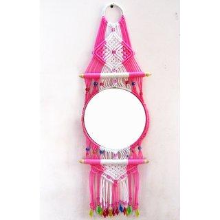 Macrame Mirror ( pink white )