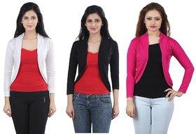 Bfly Women's Black White Pink Viscose Shrug