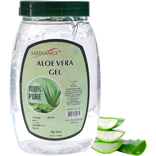 Satinance Aloe Vera Gel 1Kg - 100 Percent Natural No Added Colors Perfume