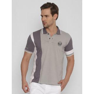 6a3a7d0d Buy FIDO DIDO Men's Grey Cotton Half Sleeved Polo Neck T-shirt Online - Get  50% Off