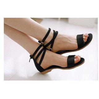 Gibelle Women's Three Stripes Black Casual Flats