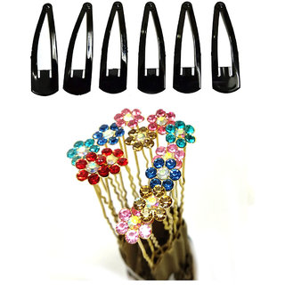 GadinFashion Set of Metal Crystal Rhinestone Pearl Bridal 12 Hair Juda Pin with 6 Tic Tac Hair clip Hair Accessories for Women / Girls