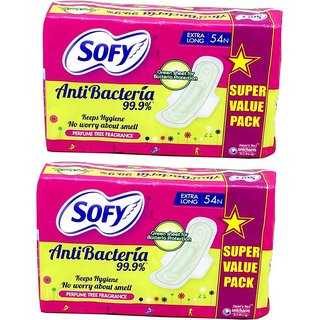 SOFY BODY FIT ANTI BACTERIA SANITARY PAD SIZE XL ( 54 Pcs. PACK ) SET OF TWO PACKS TOTAL 108 SANITARY PADS