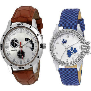 Varni Retail Brown Chronograph And Print Dial Multi Chex Design Leather Belt Combo Watch For Girls  Women