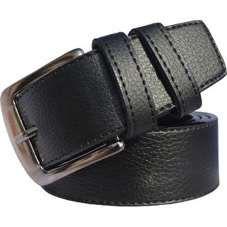 Sunshopping men's black leatherite needle pin point buckle belt (Synthetic leather/Rexine)