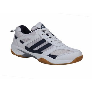 3f85bcfc4a74b 35%off FOOTFIX RYDE Unisex (Non-Marking) PU Badminton Shoes White Navy