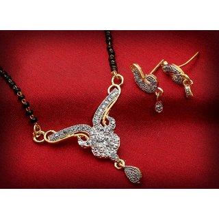 Luxor Fashion Ethnic Traditional Gold Tone Designer American Diamond Mangalsutra Set for Women