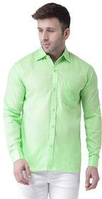 Khadio Men's Green Linen Full Shirt