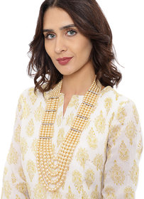 Zaveri Pearls Gold Tone Multi Layered Royal Look Long Necklace-ZPFK8571