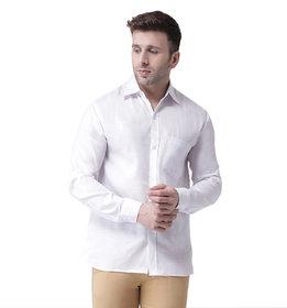 Khadio Men's White Linen Full Shirt